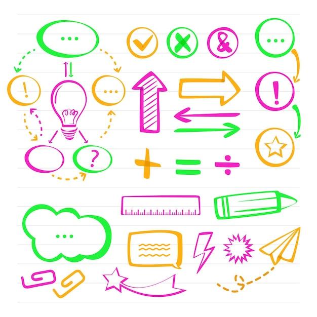 Elementos do infográfico escolar em marcadores coloridos Vetor grátis