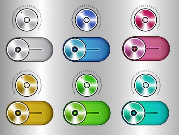 Elementos do kit de interface do usuário, conjunto de alternância do controle deslizante Vetor Premium