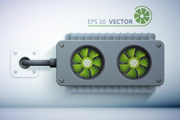 Elementos do sistema de resfriamento com resfriadores verdes realistas e fio colocado na parede Vetor Premium