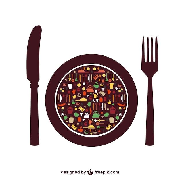 Elementos do vetor comida menu sem Vetor grátis