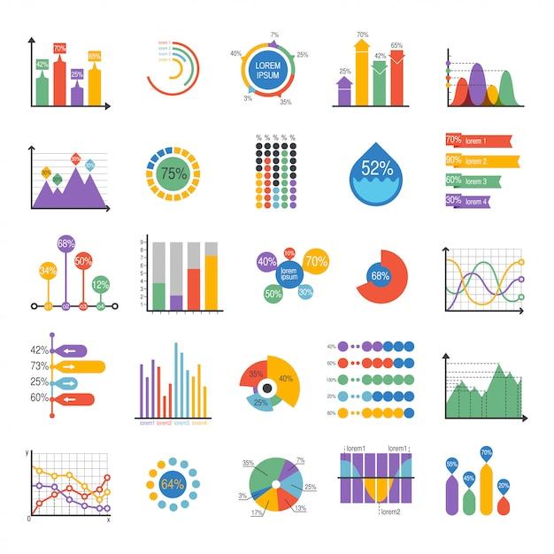 Elementos do vetor de análise de dados de gráfico de negócios Vetor Premium