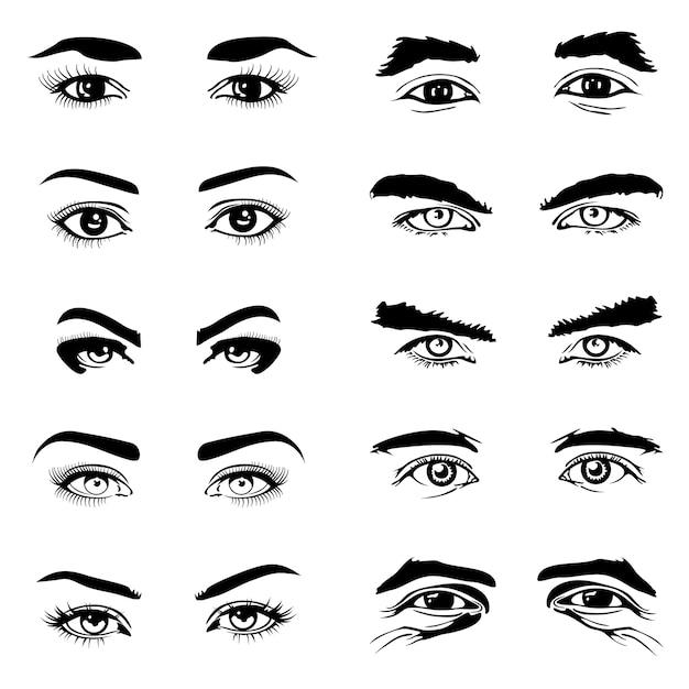 Elementos do vetor de sobrancelhas de olhos masculinos e femininos Vetor Premium