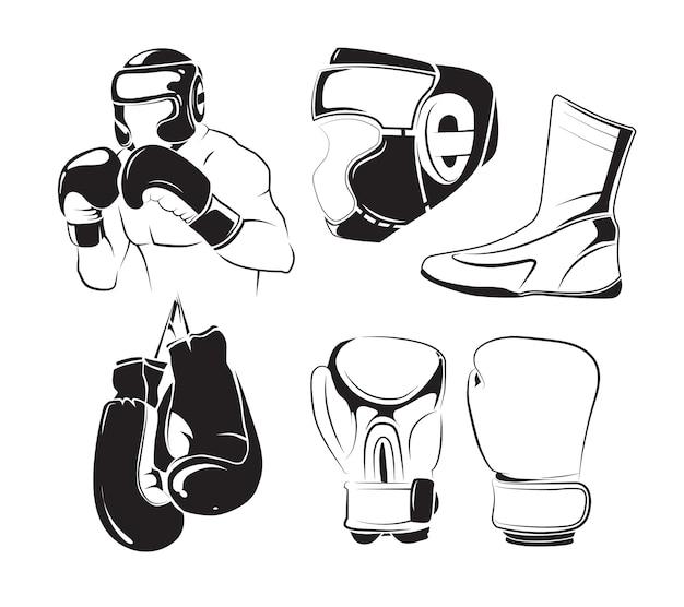Elementos do vetor para emblemas de boxe vintage Vetor Premium