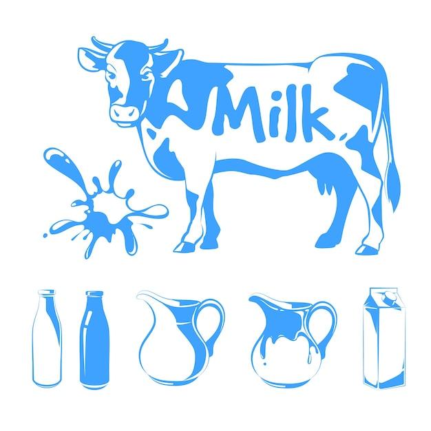 Elementos do vetor para logotipos, etiquetas e emblemas do leite. ilustração de fazenda de comida, vaca e bebida natural fresca Vetor grátis
