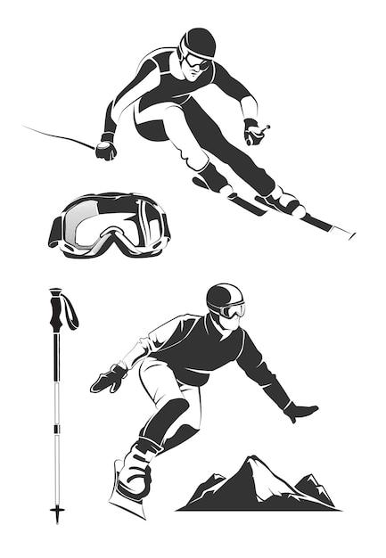 Elementos do vetor para rótulos e emblemas vintage de esqui e snowboard. esporte de esqui, emblema de etiqueta de esqui, emblema de snowboard, esqui extremo e ilustração de snowboard Vetor grátis