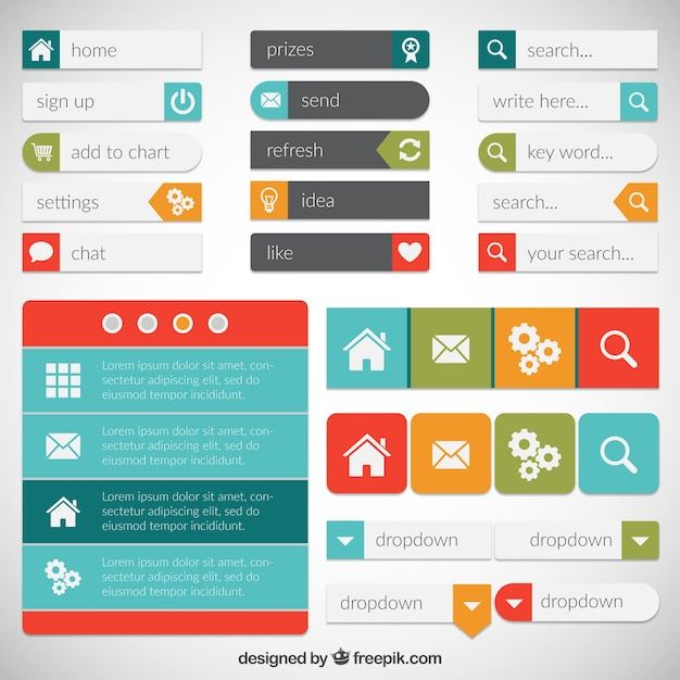Elementos do Web page Vetor Premium