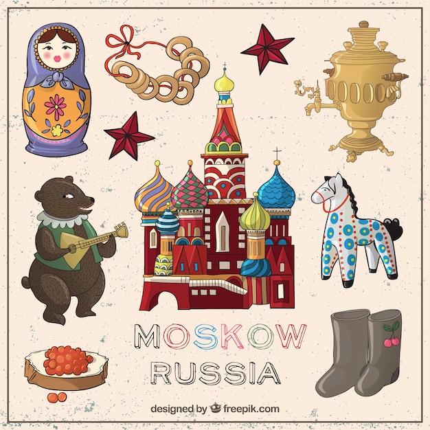 Elementos esboçado moscovo Vetor grátis