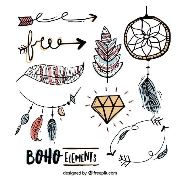 Elementos esboços no estilo boho Vetor grátis