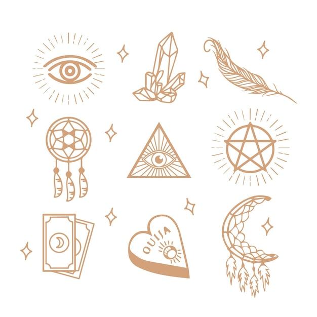Elementos esotéricos dourados Vetor grátis