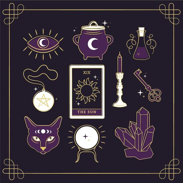 Elementos esotéricos ilustrados Vetor Premium