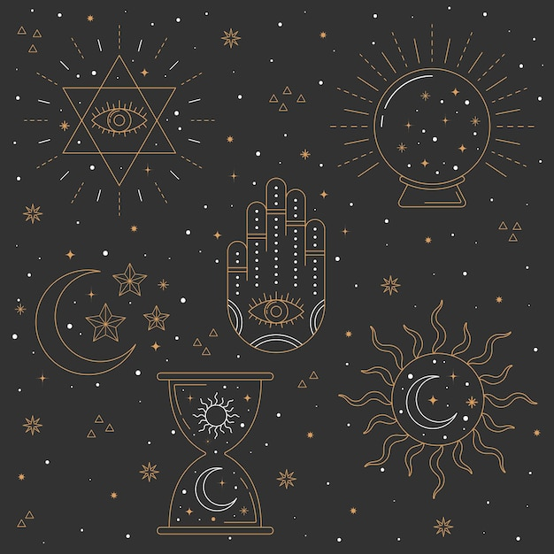 Elementos esotéricos mão design desenhado Vetor Premium