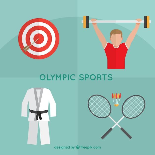 Elementos esportes olímpicos de design plano Vetor grátis