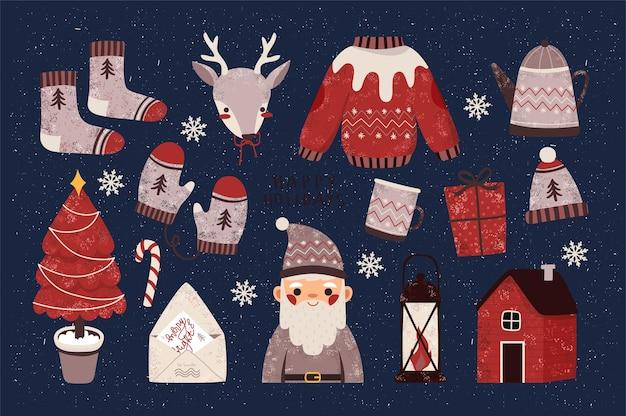 Elementos festivos de saudação de natal para cartões, convites e banners. cartaz de feliz natal e feliz ano novo, conjunto de adesivos ou banner templat Vetor Premium
