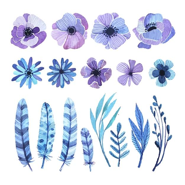 elementos florais decorativos Vetor grátis