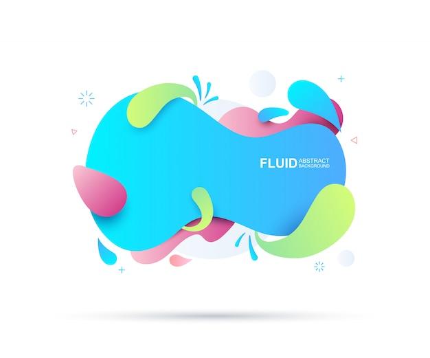 Elementos fluidos e modernos abstratos. formas coloridas dinâmicas e linha. Vetor Premium