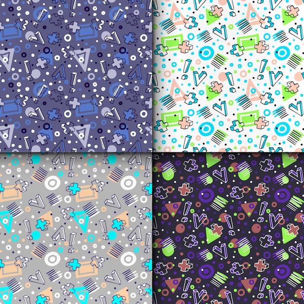 Elementos geométricos em estilo memphis, padrão sem emenda geométrico colorido definido. Vetor Premium