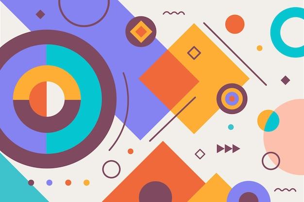Elementos geométricos simples de design plano colorido Vetor grátis