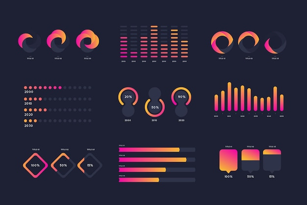 Elementos gradiente infográfico rosa e laranja Vetor grátis