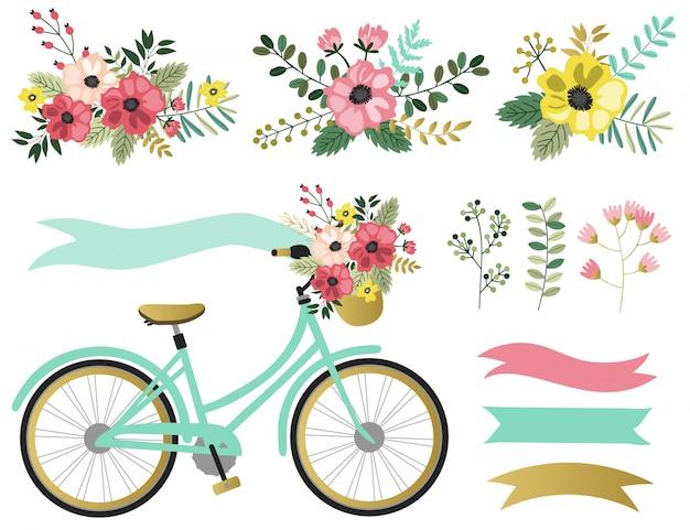 Elementos gráficos da mola ajustados com floral. Vetor Premium
