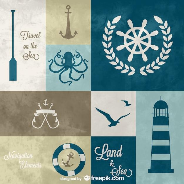 Elementos gráficos náuticas Vetor grátis