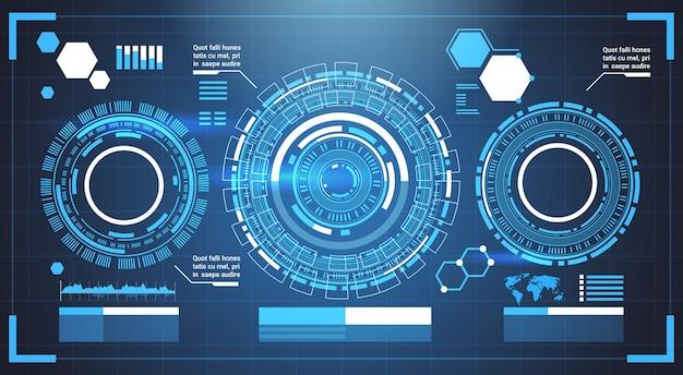 Elementos infográfico futurista modelo banner com cópia espaço tech gráficos de fundo abstrato Vetor Premium