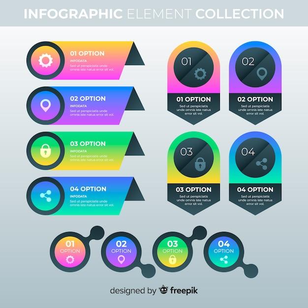 Elementos infográfico gradiente Vetor grátis