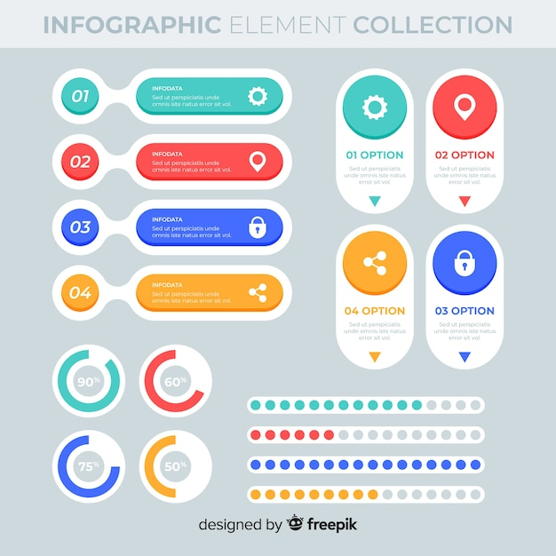 Elementos infográfico planas Vetor grátis