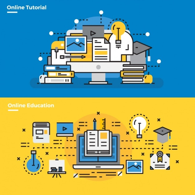 Elementos infographic cerca de tutoriais on-line Vetor grátis