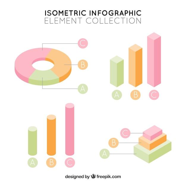 Elementos infographic isométricas em cores pastel Vetor grátis