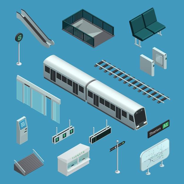 Elementos isométricos de metrô Vetor grátis