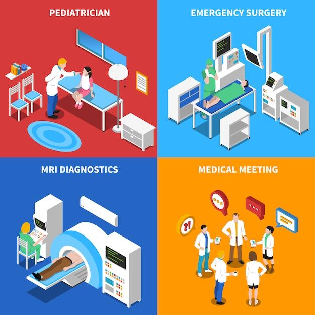 Elementos isométricos e personagens do paciente do hospital Vetor grátis