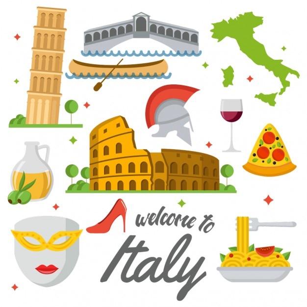 Elementos itália colorido Vetor grátis