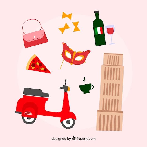 Elementos italianos tradicionais Vetor grátis