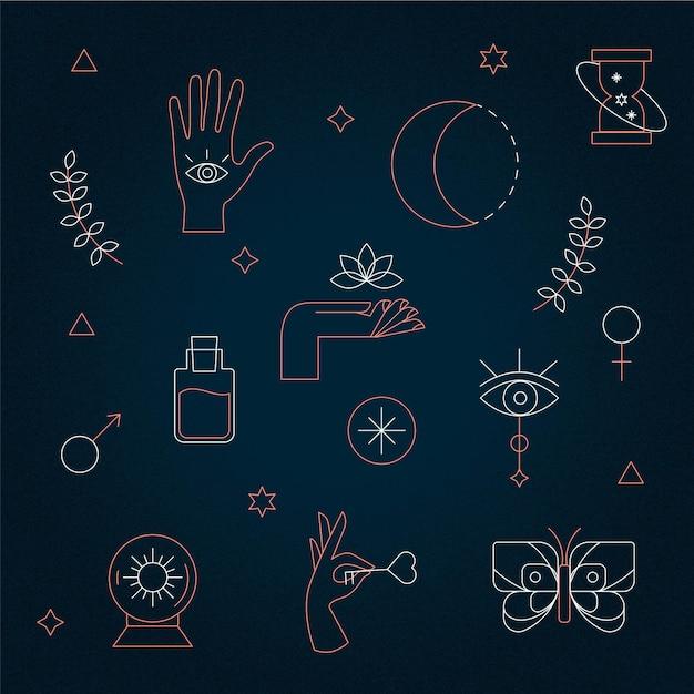 Elementos místicos esotéricos Vetor grátis