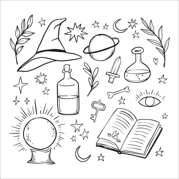 Elementos místicos esotéricos Vetor Premium