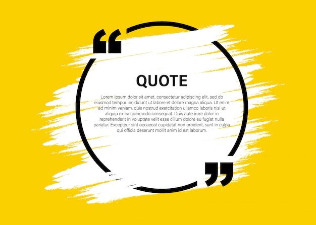 Elementos modernos de citação de bloco na moda modelo de quadro de texto de citação e comentário criativo Vetor Premium