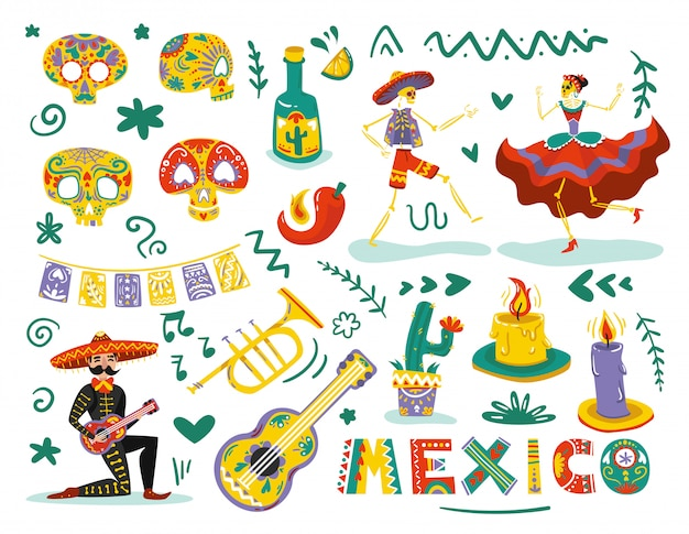Elementos mortos do dia mexicano atribuem conjunto colorido com dança esqueletos máscaras de caveiras de açúcar Vetor grátis