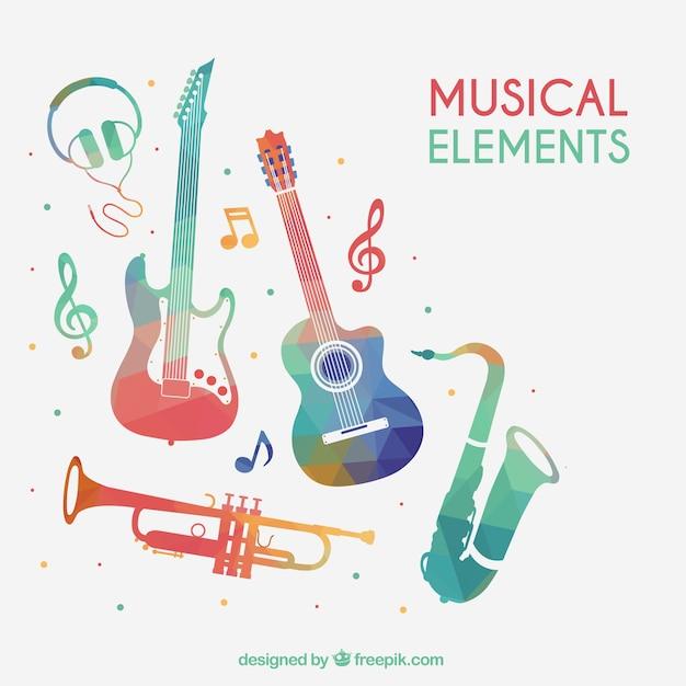 Elementos musicais coloridos Vetor grátis