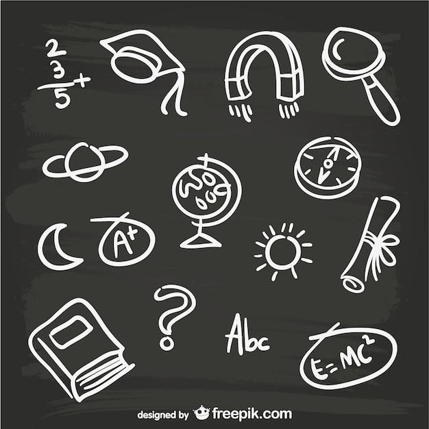 Elementos negro desenhados à mão Vetor grátis