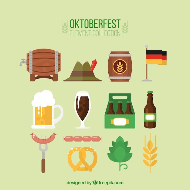 elementos Oktoberfest ajustados no projeto plana Vetor grátis