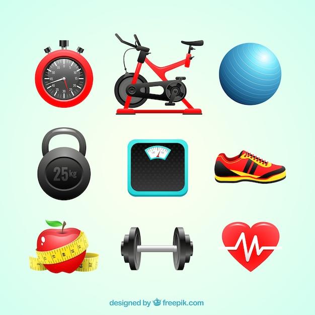 Elementos para exercício físico Vetor grátis