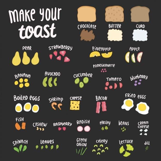 Elementos pequeno-almoço coloridas Vetor grátis