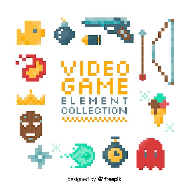 Elementos pixelizada sobre jogos de vídeo Vetor grátis