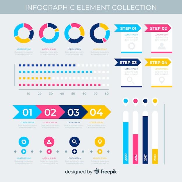 Elementos planos infográfico com coleção de estatísticas Vetor grátis
