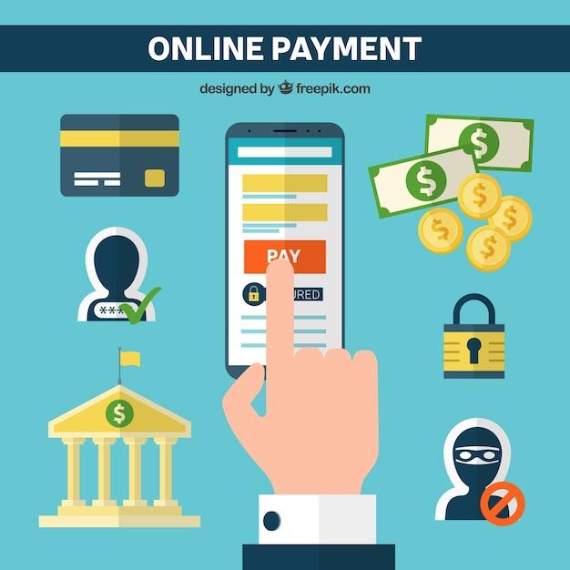 Elementos planos sobre o pagamento eletrônico Vetor grátis