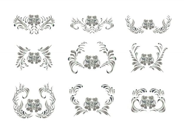 Elementos reais com flores de prata Vetor Premium