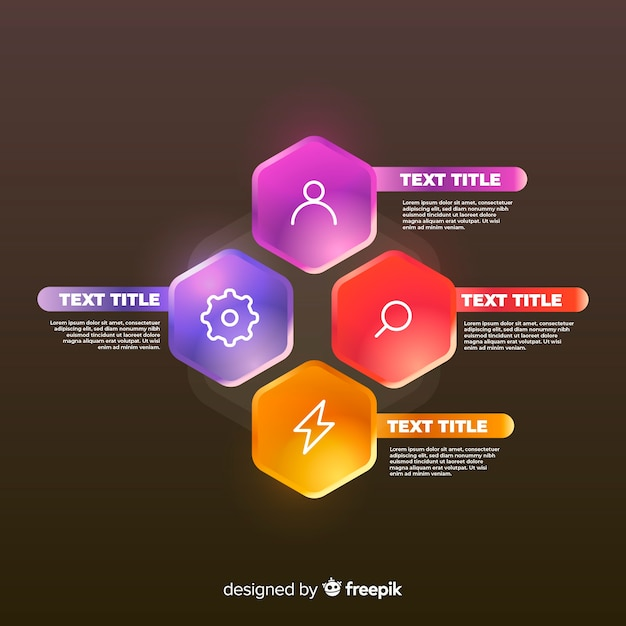 Elementos realistas brilhantes infográfico Vetor grátis