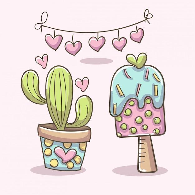 Elementos românticos com sorvete e cacto Vetor grátis