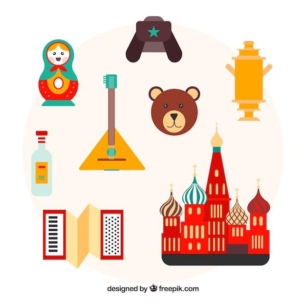 Elementos russos tradicionais Vetor grátis