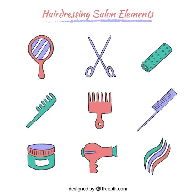 Elementos salões de cabeleireiro esboçado Vetor grátis
